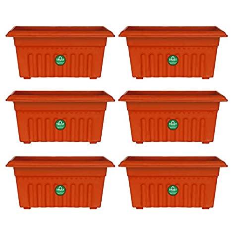 UV treated rectangular plastic planter: