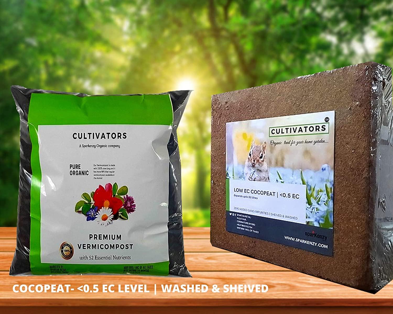 Cultivators coco peat 5 kg + vermicompost 5 kg: